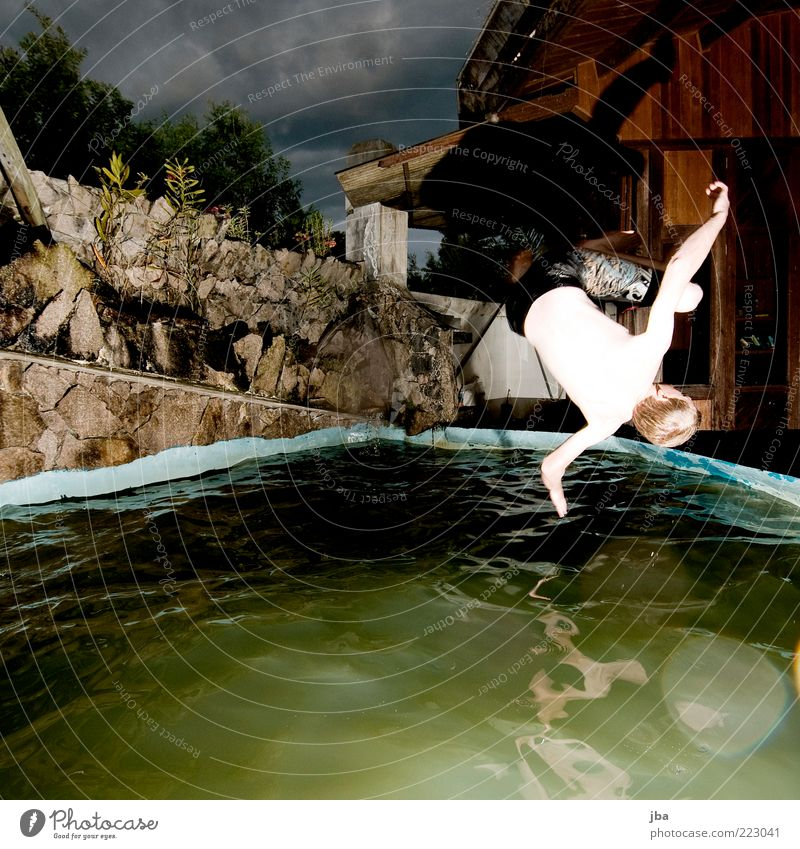 Flip! Mensch Jugendliche Wasser Ferien & Urlaub & Reisen Pflanze Sommer Erwachsene Ferne Holz Freiheit springen Stein Mauer Wohnung Schwimmen & Baden