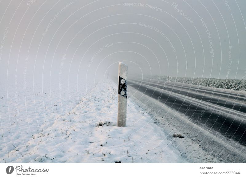 Kalt und neblig Umwelt Winter Wetter schlechtes Wetter Nebel Eis Frost Schnee Verkehrswege Straßenverkehr kalt ruhig Ziel Farbfoto Außenaufnahme Menschenleer