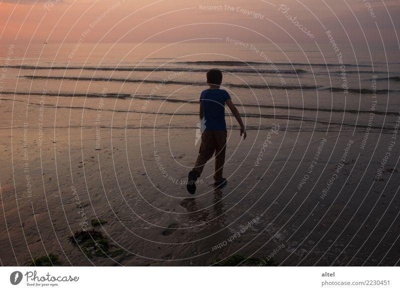 Deine Spuren im Sand Erholung ruhig Ferien & Urlaub & Reisen Tourismus Sommer Sommerurlaub Strand Meer Mensch Kind Kindheit Natur Landschaft Sonnenaufgang