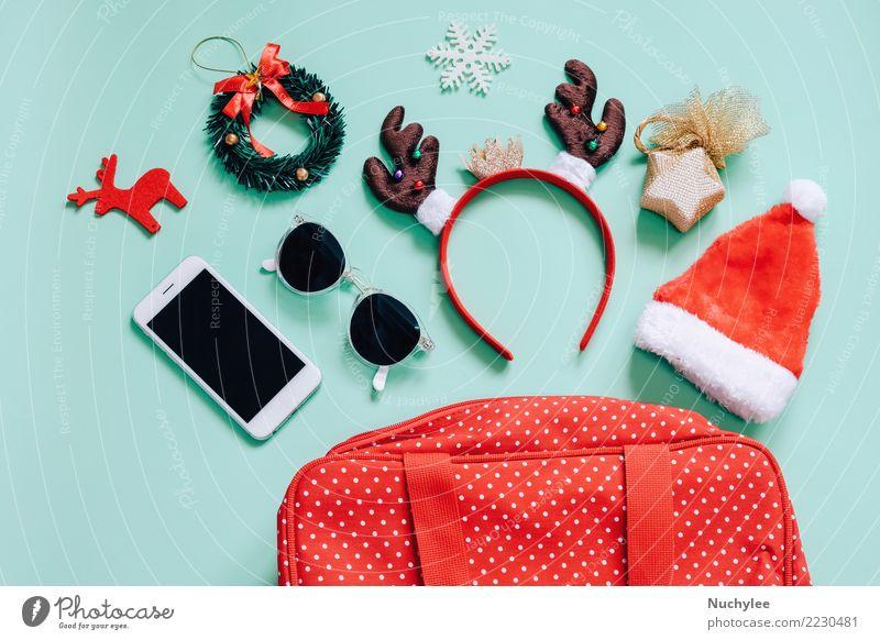 Feiertagskonzept, flache Lage von Weihnachtsverzierungen Frau Weihnachten & Advent grün Freude Erwachsene feminin Stil Mode Feste & Feiern hell