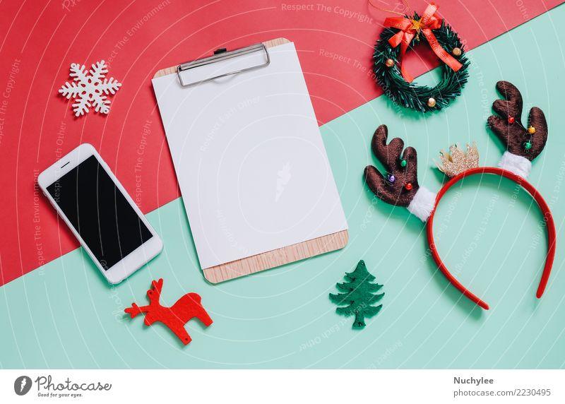 Flache Lage der Weihnachtsornamente Lifestyle Stil Design Freude Dekoration & Verzierung Feste & Feiern Weihnachten & Advent Telefon PDA Technik & Technologie