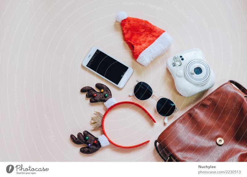 Modisches Weihnachtskonzept Lifestyle Stil Design Freude Dekoration & Verzierung Feste & Feiern Weihnachten & Advent Telefon PDA Fotokamera