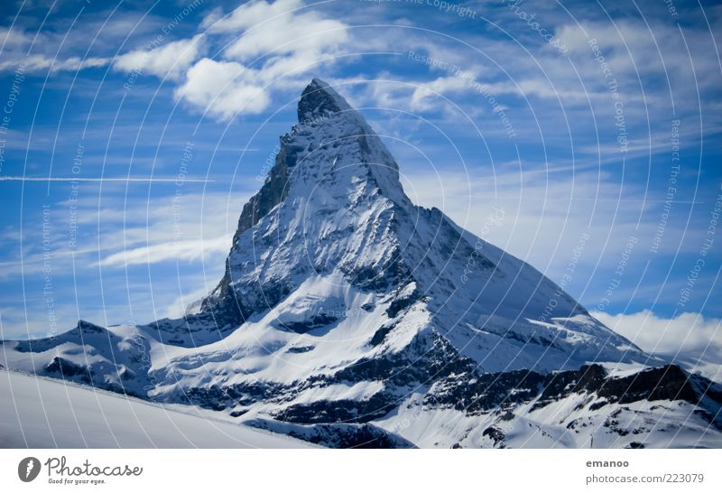 Der Berg der Berge Freiheit Winter Natur Landschaft Eis Frost Schnee Felsen Alpen Berge u. Gebirge Gipfel Schneebedeckte Gipfel gigantisch hoch kalt blau