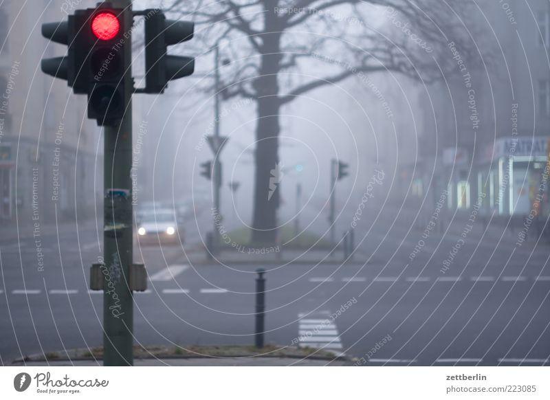 Nebelday Stadt Hauptstadt Stadtzentrum Haus Verkehr Straße Straßenkreuzung Verkehrszeichen Verkehrsschild fahren warten Müdigkeit Sehnsucht Heimweh Fernweh