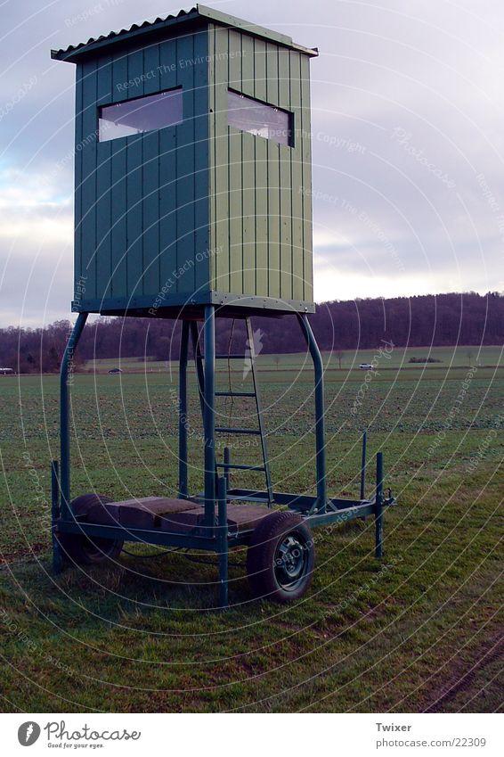 (Mobiler) Hochsitz Himmel Natur Tier Wald Landschaft Wiese Ernährung Jagd Mobilität Fleisch Jäger Reh Schuss Anhänger Gewehr Forstwald