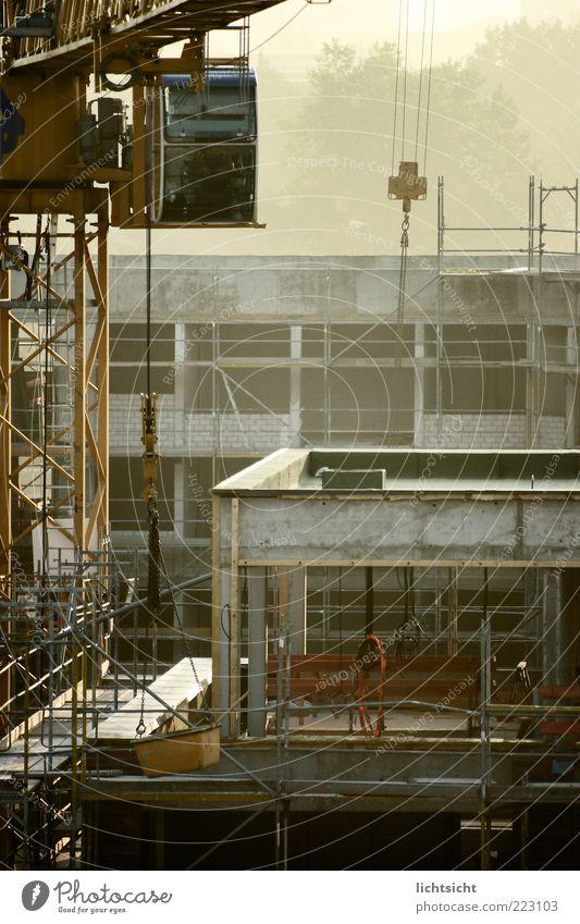 Aufbaustelle Arbeit & Erwerbstätigkeit Handwerker Baustelle Wirtschaft Nebel Stadt Haus Gebäude Fassade Stein Beton Metall neu grau komplex Wachstum Kran