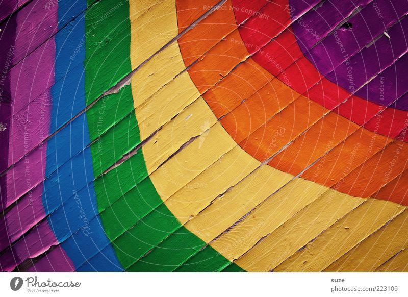 Farbfoto Glück Mauer Wand Fassade Holz Zeichen Graffiti Streifen Fröhlichkeit positiv schön blau mehrfarbig gelb grün violett orange rot Regenbogen Holzwand