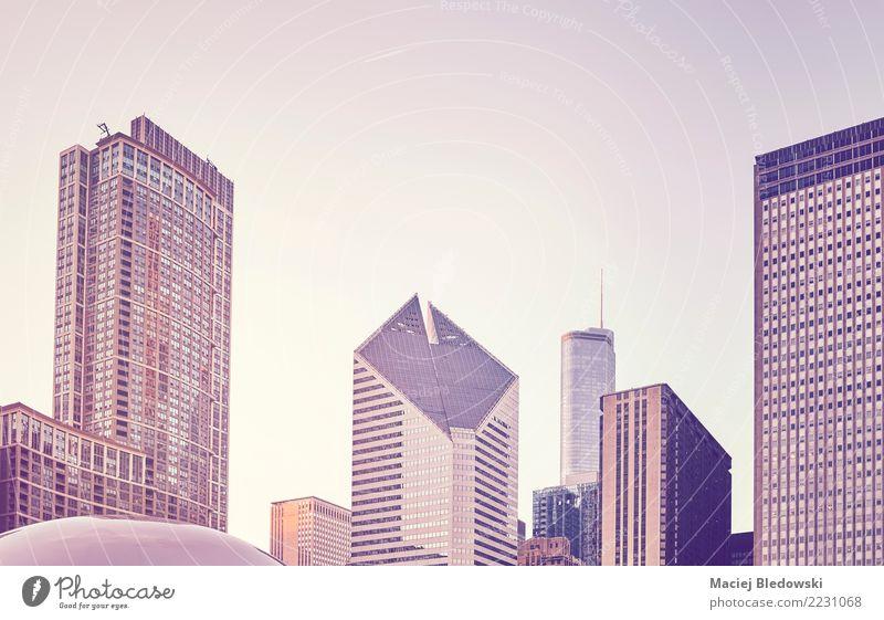 Chicago Skyline bei Sonnenuntergang. Sightseeing Städtereise Wohnung Büro Stadtzentrum Haus Hochhaus Bankgebäude Gebäude Architektur Erfolg modern Business