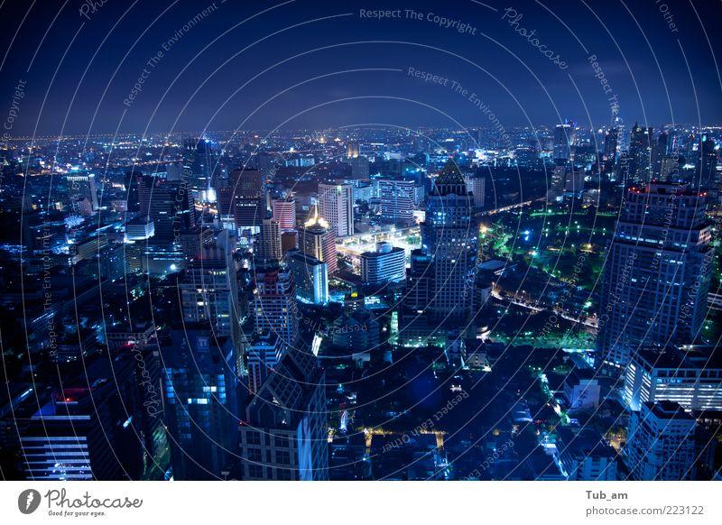 Nachtschicht Ferien & Urlaub & Reisen Bangkok Thailand Asien Hauptstadt Skyline überbevölkert Hochhaus Architektur Dach Stimmung Euphorie Leben Geschwindigkeit