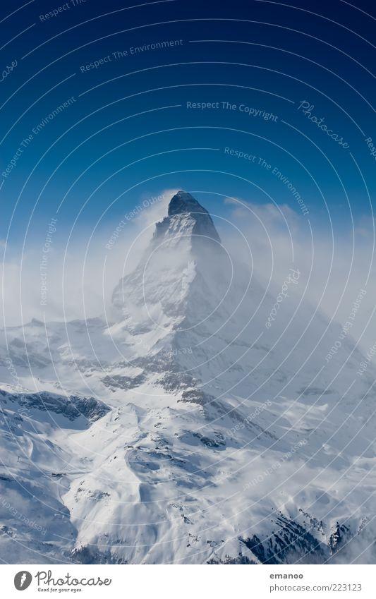 Nebelberg Himmel Natur blau Winter Ferne kalt Schnee Freiheit Berge u. Gebirge Landschaft Eis Wetter Nebel hoch ästhetisch Frost