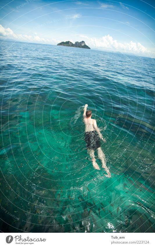Meer Ferne Freiheit Bewegung Wellen Angst Horizont Ausflug Abenteuer Schwimmen & Baden Insel Hoffnung einzigartig Schwimmsport Idylle Fitness