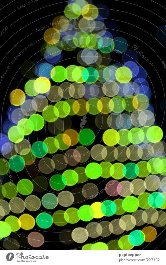 auf den zweiten blick... Feste & Feiern Kugel glänzend hell trendy schön Kitsch blau gelb grün mehrfarbig Außenaufnahme Detailaufnahme Muster Nacht