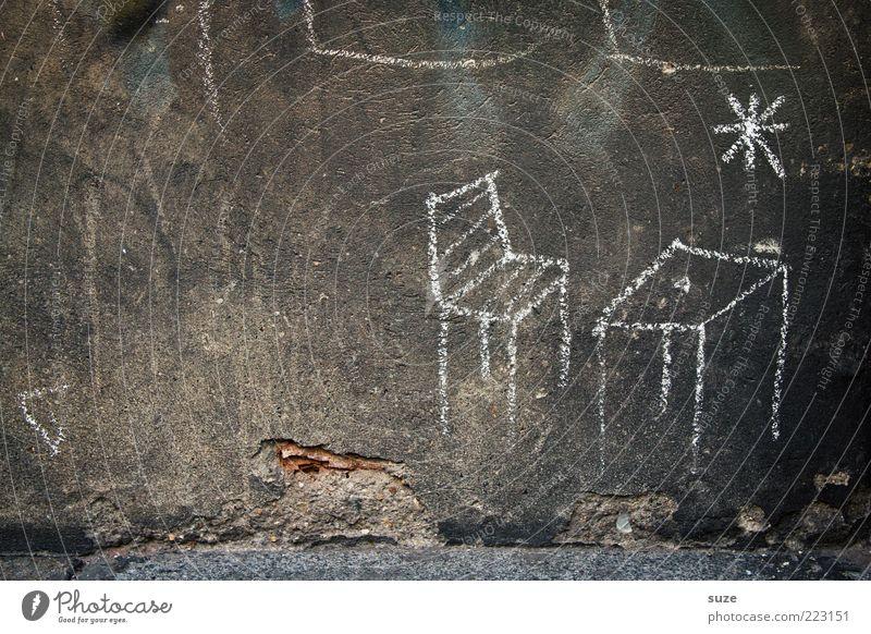 Tischleindeckdich Stuhl Mauer Wand Fassade alt Armut authentisch einfach einzigartig kaputt trashig trist Traurigkeit Putz verfallen Kreide Schmiererei