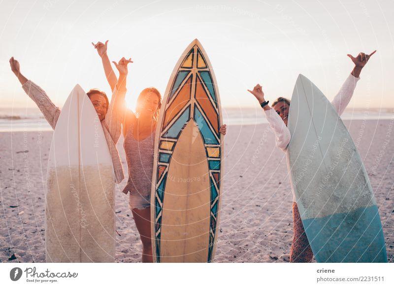 Gruppe junge erwachsene Freunde, die am Strand mit Surfbrettern nett sind Lifestyle Freude Glück Erholung Freizeit & Hobby Ferien & Urlaub & Reisen Sommer