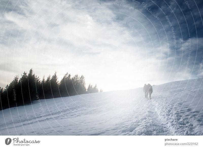Bergluft Tourismus Ausflug Winter Schnee Berge u. Gebirge wandern 2 Mensch Natur Himmel Wolken Unendlichkeit Freiheit Ferne Farbfoto Außenaufnahme Tag Dämmerung