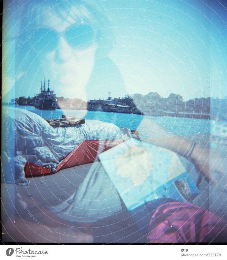 du mich auch Mensch Wasser blau Ferien & Urlaub & Reisen Sonne Sommer Freude Landschaft lustig Wasserfahrzeug Fröhlichkeit Schönes Wetter Leidenschaft frech