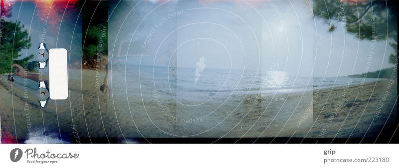 strand panorama Mensch maskulin Natur Sand Himmel Sonne Sommer Schönes Wetter Wellen Strand berühren Bewegung entdecken fallen festhalten genießen springen