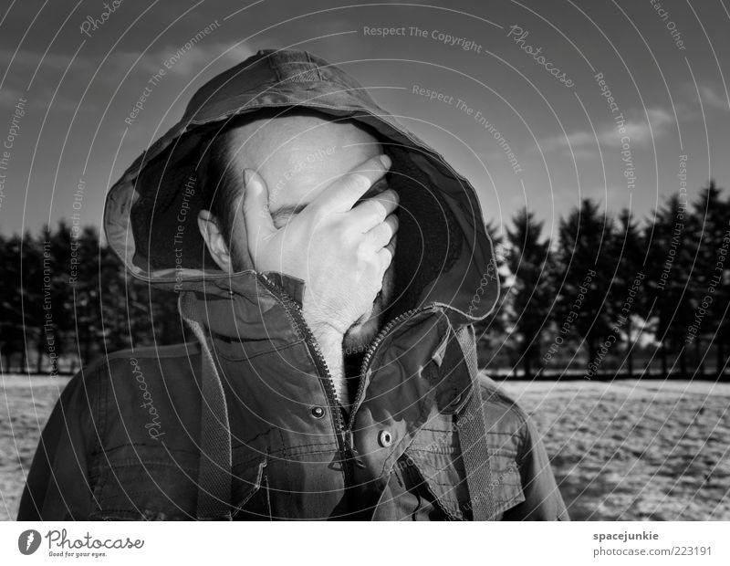 Blinded by the light maskulin Hand 1 Mensch träumen Traurigkeit weinen Sicherheit Schutz Enttäuschung Einsamkeit Erschöpfung Zukunftsangst bedrohlich Licht