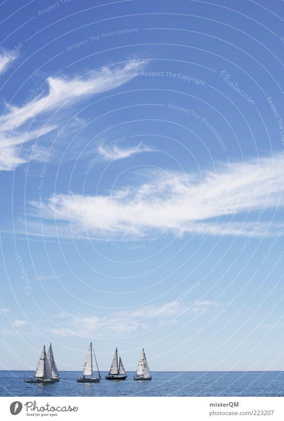 Regatta II Himmel blau Sommer Ferien & Urlaub & Reisen Meer ruhig Ferne Wasserfahrzeug Wind Horizont ästhetisch Reisefotografie Schönes Wetter