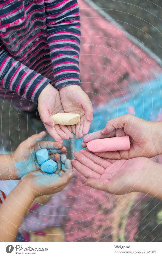RGB Kindererziehung Kindergarten Kleinkind Mädchen Junge Freundschaft Kindheit 3 Mensch blau mehrfarbig gelb rot Team Kreide Ferien & Urlaub & Reisen Teamwork
