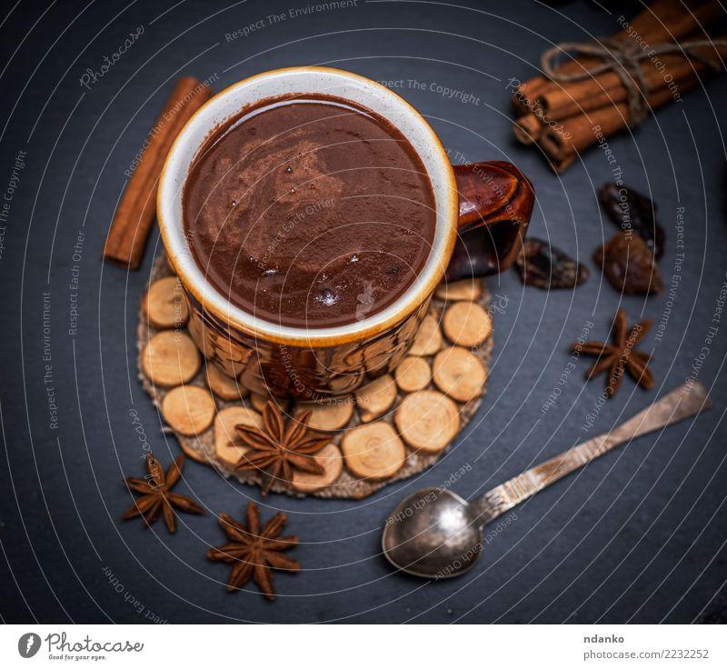 heiße Schokolade Dessert Getränk Heißgetränk Kakao Tasse Löffel Tisch Essen dunkel lecker oben braun schwarz Becher Hintergrund trinken Lebensmittel süß