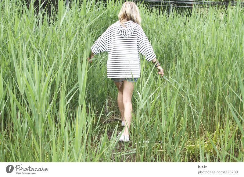 Winter ade... Mensch feminin Junge Frau Jugendliche Beine 1 Natur Frühling Sommer Grünpflanze Küste dünn grün weiß Schilfrohr Freizeit & Hobby Kapuzenjacke