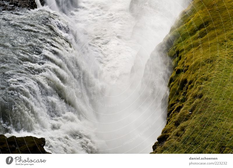 Gullfoss Ferien & Urlaub & Reisen Tourismus Ferne Freiheit Umwelt Natur Landschaft Urelemente Wasser Fluss Wasserfall grün weiß Island Skandinavien Menschenleer