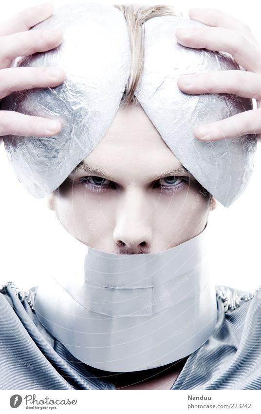 resistance is futile Mensch kalt Kopf Metall blond maskulin außergewöhnlich Schmuck direkt verkleiden Futurismus Außerirdischer Accessoire künstlich streng
