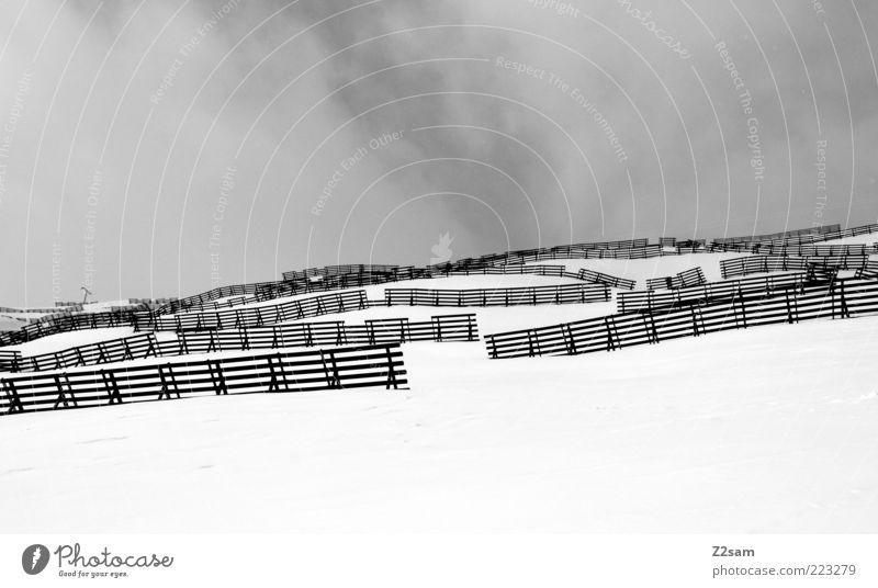 spielverderber Ferien & Urlaub & Reisen Winter Berge u. Gebirge Landschaft Himmel Wolken schlechtes Wetter Nebel Schnee Alpen trist grau Februar Fiss Zaun