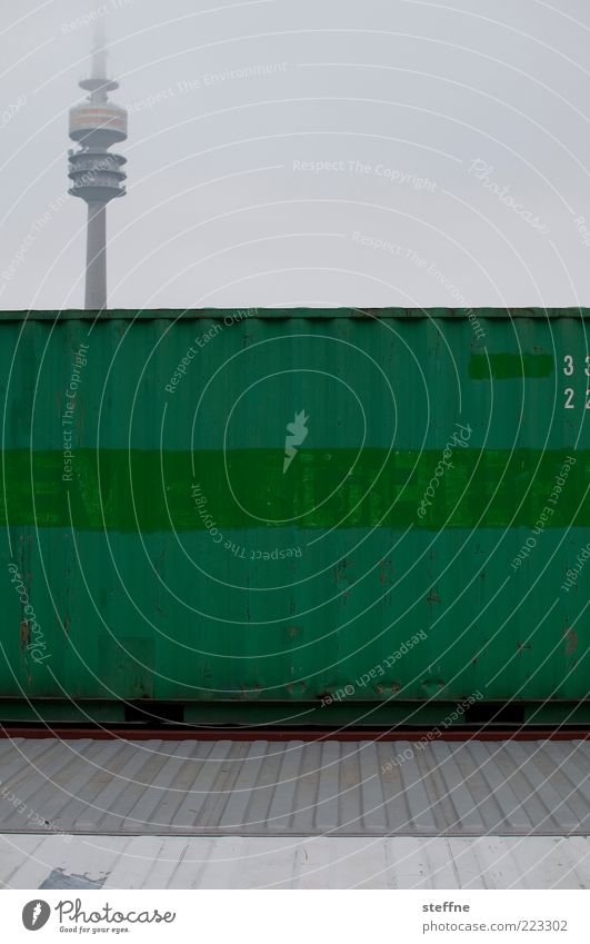 EVERGREEN Himmel schlechtes Wetter Nebel München Wahrzeichen Olympiaturm Container grün graphisch Farbfoto Außenaufnahme Menschenleer