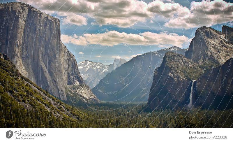 Tunnel View Himmel Natur Sommer Ferien & Urlaub & Reisen Wolken Einsamkeit Ferne Wald Freiheit Berge u. Gebirge Landschaft Umwelt Hintergrundbild Ausflug Felsen einzigartig