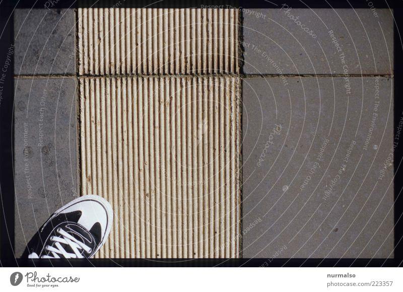 betreten Sommer Turnschuh Mensch Fuß Bahnsteig Bekleidung Schuhe Zeichen Schilder & Markierungen trendy modern einzigartig stagnierend Farbfoto Morgen