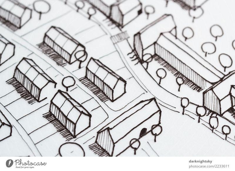 Architektur Stadtplanung Handskizze weiß Landschaft Haus schwarz Umwelt Gebäude Business Häusliches Leben Idylle Kreativität Baustelle planen Dach Dorf Reichtum
