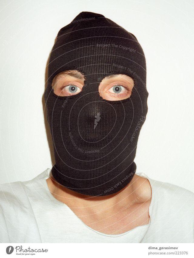 Schwarze Maske. Lifestyle Gesicht Rauschmittel Mensch maskulin Mann Erwachsene 1 Künstler Jagd schreien Tauziehen Aggression außergewöhnlich dunkel schwarz weiß