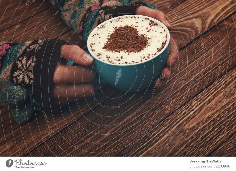 Frauenhände, die großes Cup Cappuccinokaffee umarmen Mensch Jugendliche Junge Frau blau Hand Erholung ruhig Winter Erwachsene Wärme Liebe feminin braun Getränk