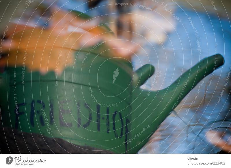 In Frieden Herbst Blatt nass blau braun grün Vergänglichkeit Gießkanne Wasser Friedhof Schriftzeichen Farbfoto Außenaufnahme Menschenleer Tag