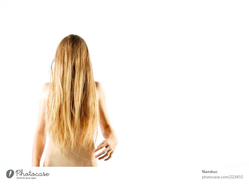 Haariges Monster Mensch feminin Junge Frau Jugendliche Körper 1 Haare & Frisuren blond langhaarig nackt dünn gruselig verdreht Behaarung Farbfoto Studioaufnahme