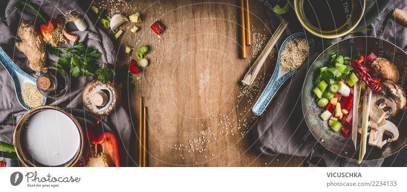 Vegetarische Zutaten für asiatische Küche Gesunde Ernährung Foodfotografie Essen Leben Hintergrundbild Stil Lebensmittel Design kochen & garen Kräuter & Gewürze