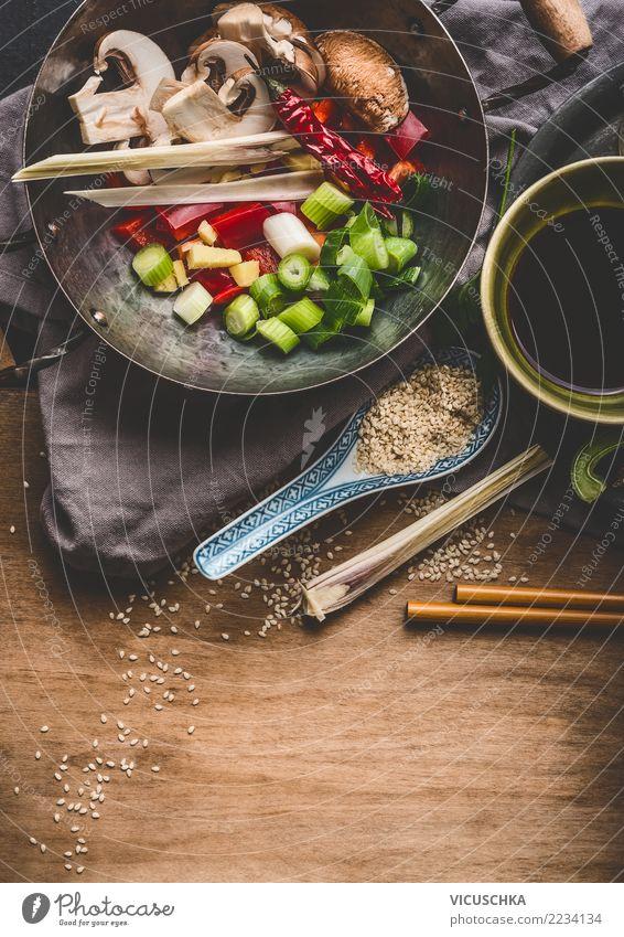Wok mit vegetarische asiatische Zutaten Lebensmittel Gemüse Kräuter & Gewürze Ernährung Mittagessen Abendessen Bioprodukte Vegetarische Ernährung Diät