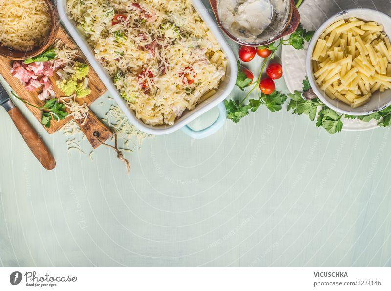 Nudelauflauf mit Romanesco Kohl und Schinken Lebensmittel Ernährung Mittagessen Abendessen Bioprodukte Italienische Küche Schalen & Schüsseln Topf Pfanne Stil