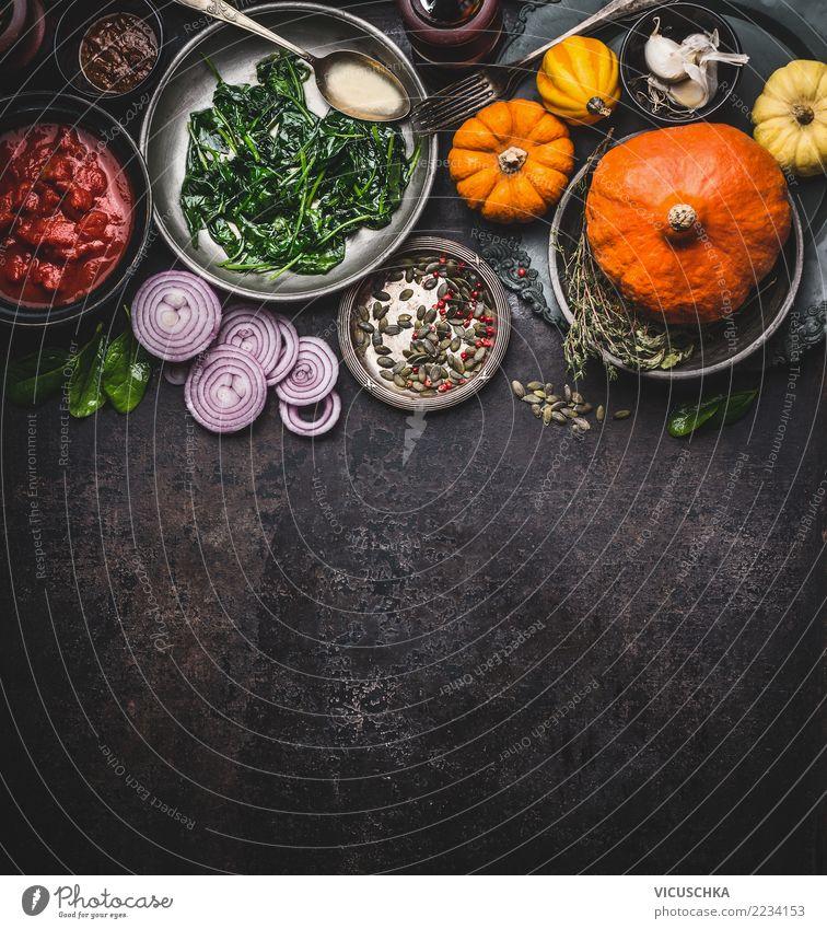 Kochzutaten für leckere Kürbisgerichte Lebensmittel Gemüse Kräuter & Gewürze Öl Ernährung Mittagessen Abendessen Bioprodukte Vegetarische Ernährung Diät