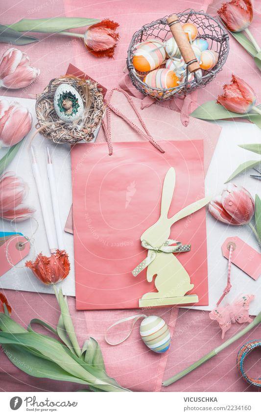 Ostern Dekoration mit Tulpen, Eiern und Häschen Blume Hintergrundbild Stil Feste & Feiern rosa Design Textfreiraum Dekoration & Verzierung Geschenk kaufen