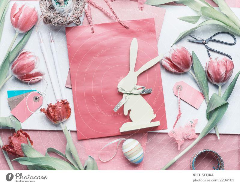 Ostern Geschenke einpacken Stil Design Häusliches Leben Dekoration & Verzierung Feste & Feiern Frühling Blume Tulpe Zeichen Liebe rosa Tradition Hintergrundbild
