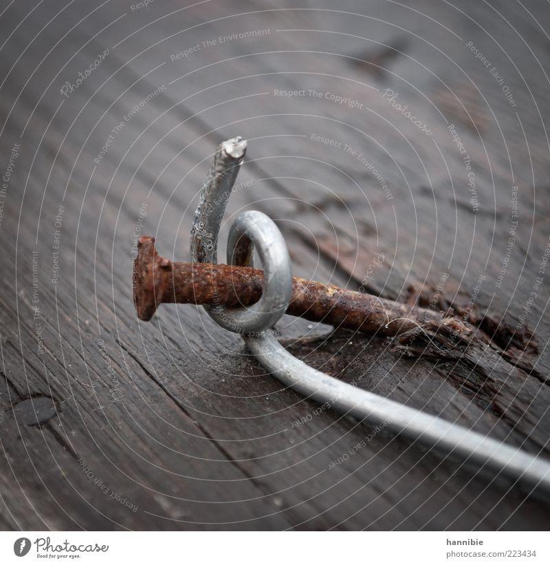 umschlungen Holz Metall braun Nagel Rost gekrümmt befestigen verwittert Farbfoto Außenaufnahme Nahaufnahme Detailaufnahme Menschenleer umwickelt alt Halt Draht