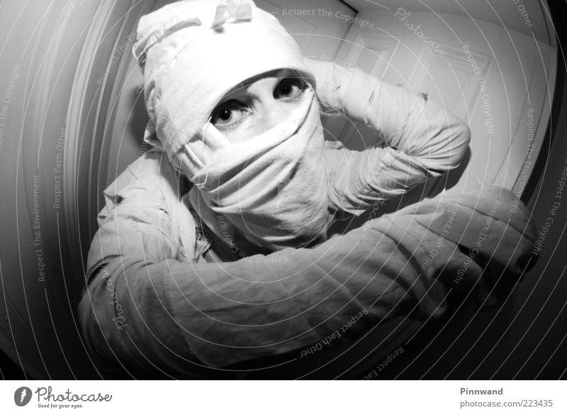 guten morgen.. ohne sorgen Stoff Maske weiß mumie vermummt Angst konserviert verkleiden Halloween Monster Verhext verpackt gruselig angriffslustig bewegungslos