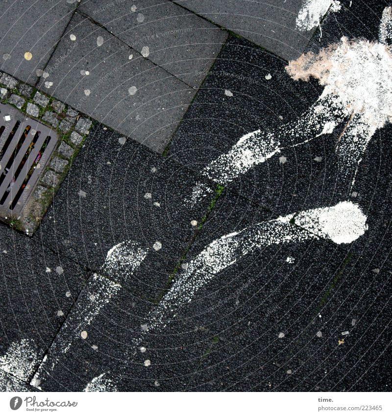 HH10.2 | No Milk Today weiß Farbe grau Stein Farbstoff Beton Schilder & Markierungen Ecke Tropfen Spuren Pfeil Bürgersteig chaotisch Fleck durcheinander Gully