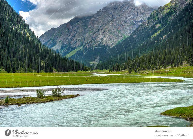 Atemberaubende Landschaft des Karakol Nationalparks, Kirgisistan Sommer Berge u. Gebirge Natur Himmel Wolken Baum Gras Park Wald Hügel Felsen Schlucht Fluss