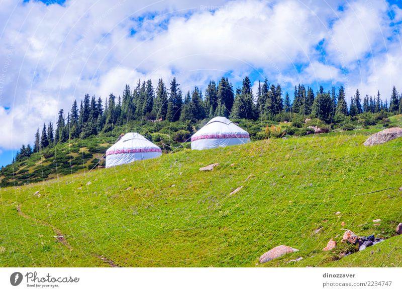 Himmel Natur Ferien & Urlaub & Reisen blau Sommer grün weiß Landschaft Haus Berge u. Gebirge Architektur Umwelt Lifestyle Wiese Gras Tourismus