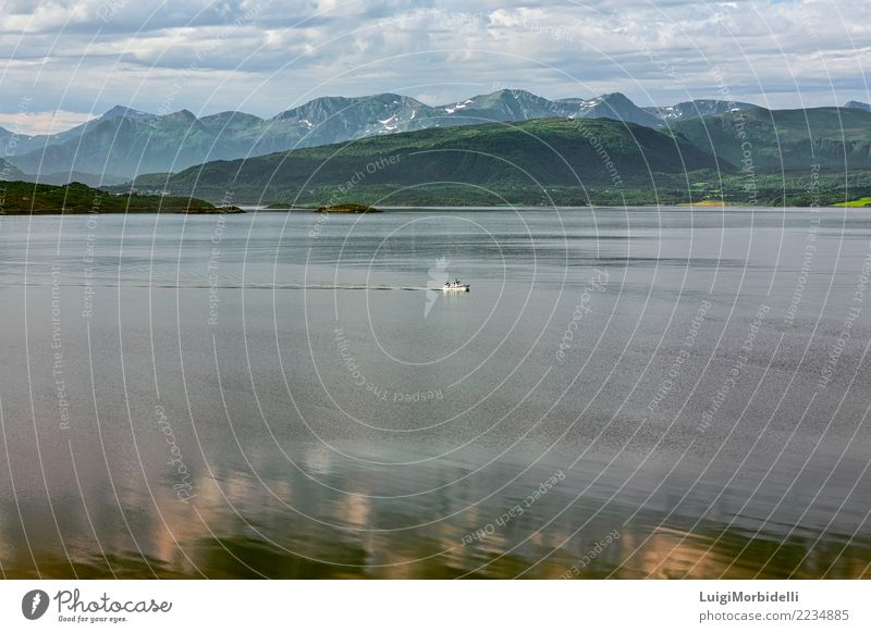 Mountain View und Fjord in Molde, Norwegen Ferien & Urlaub & Reisen Sommer Berge u. Gebirge Segeln Natur Landschaft Meer Motorboot Schimmel Wasser Aussicht