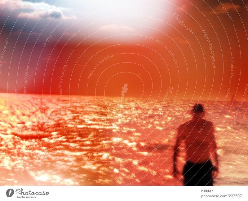methyl orange bath Mensch Mann blau Wasser schön rot Meer Strand Erwachsene orange Horizont Wellen Schwimmen & Baden glänzend maskulin rosarote Brille
